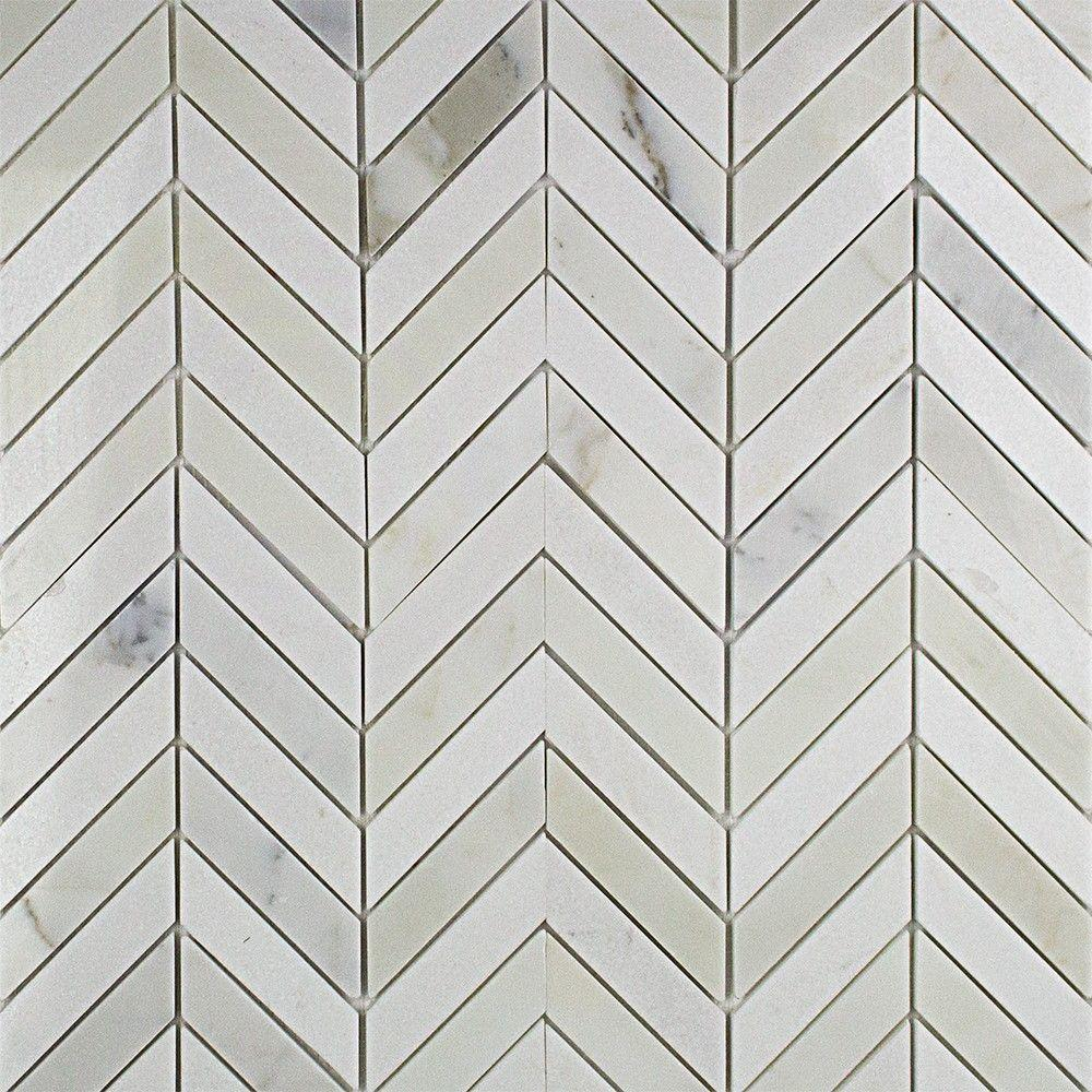 Dart Calcutta and Thassos Marble Mosaic Tile - 3 in. x