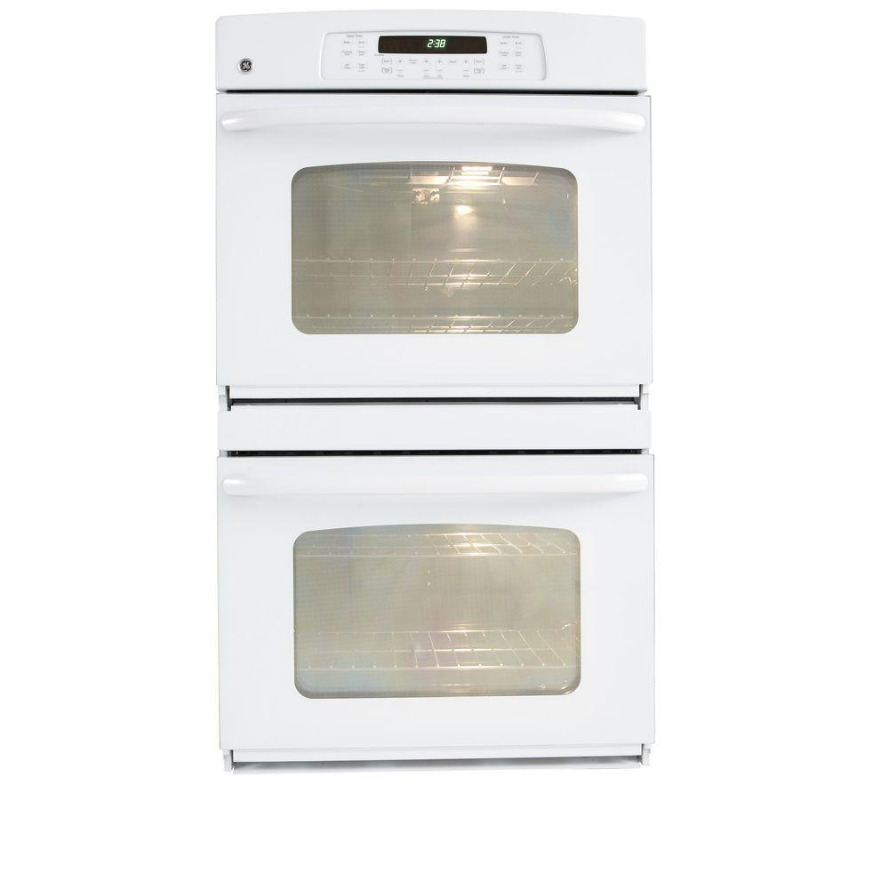GE 30 in. Double Electric Wall Oven Self-Cleaning in White-JTP55DPWW -