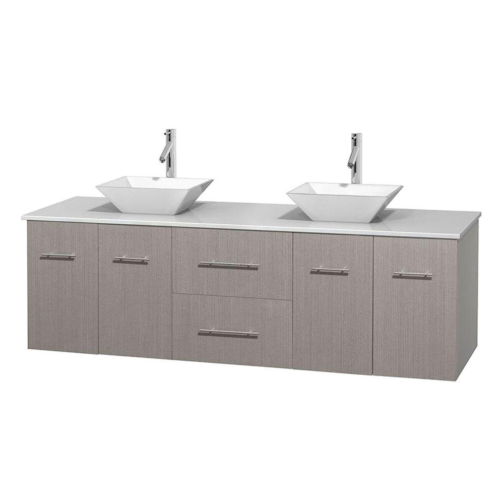 Wyndham Collection Centra 72 in. Double Vanity in Gray Oak with Solid-Surface Vanity Top in White and Porcelain Sinks