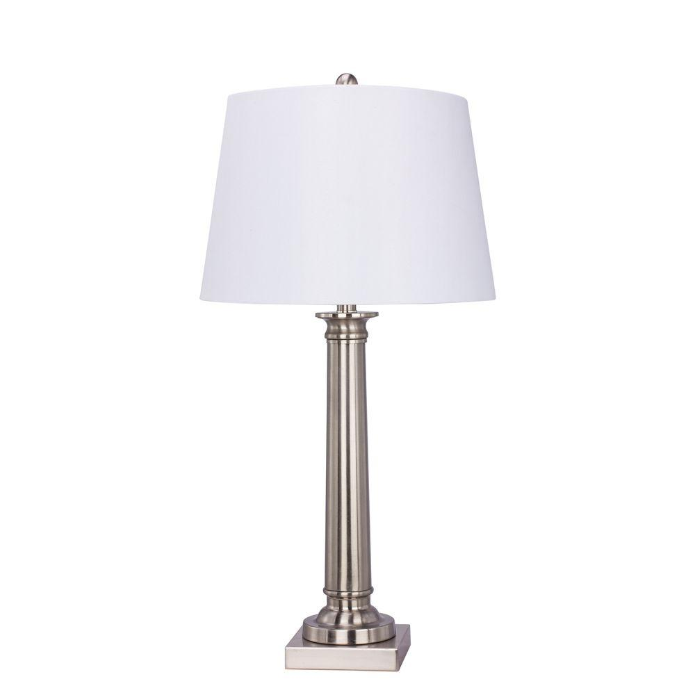 Fangio Lighting 30.5 in. Brushed Steel Base Metal Table Lamp-1491 -