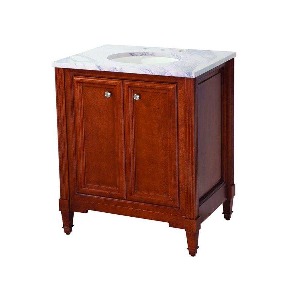 Martha Stewart Living Wayland 29 in. Vanity in Filbert Brown with Stone Effects Vanity Top in Calcutta Gold-DISCONTINUED