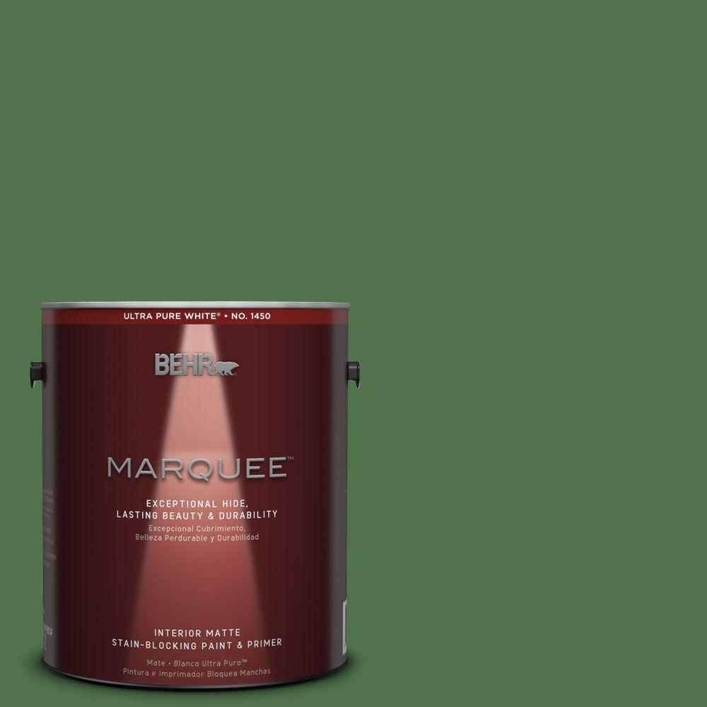 Behr Marquee 1 Gal Mq4 49 Emerald Forest One Coat Hide Matte Interior Paint 145301 The Home