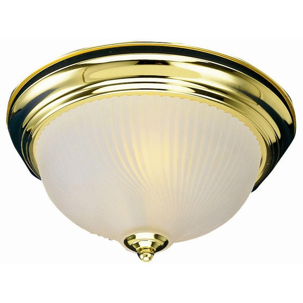 1-Light Polished Brass Ceiling Fixture with Frosted Ribbed Glass