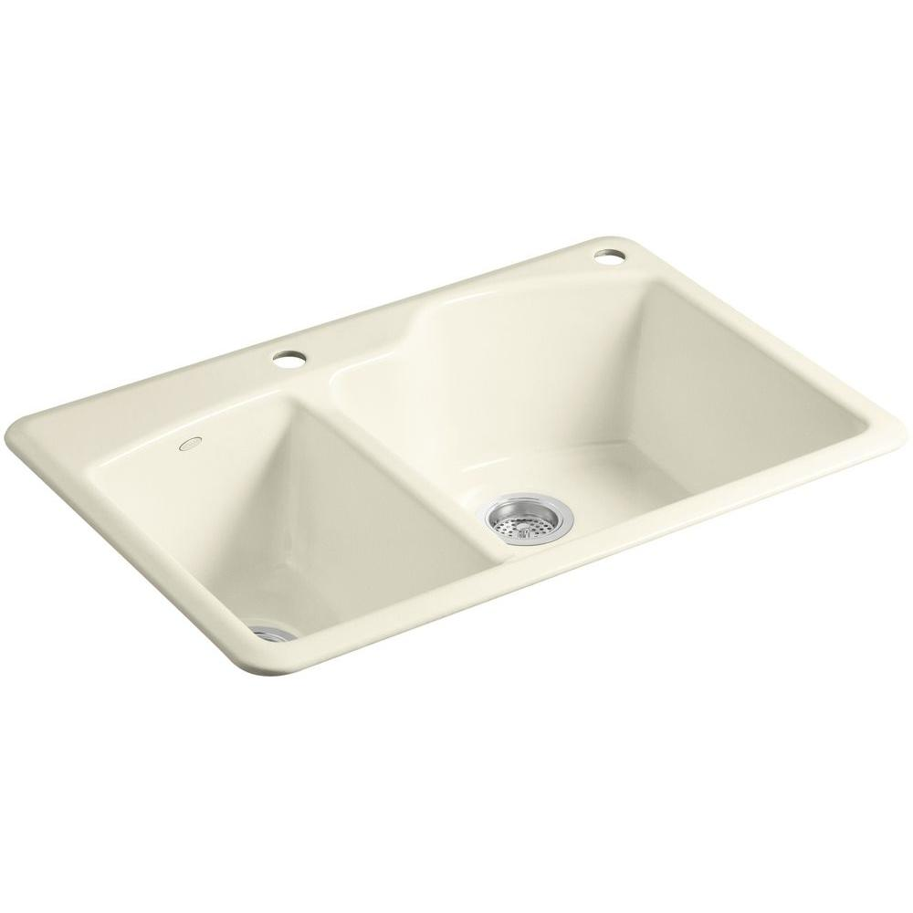 Wheatland Top Mount Cast-Iron 33 in. 2-Hole Double Bowl Kitchen Sink in Cane Sugar