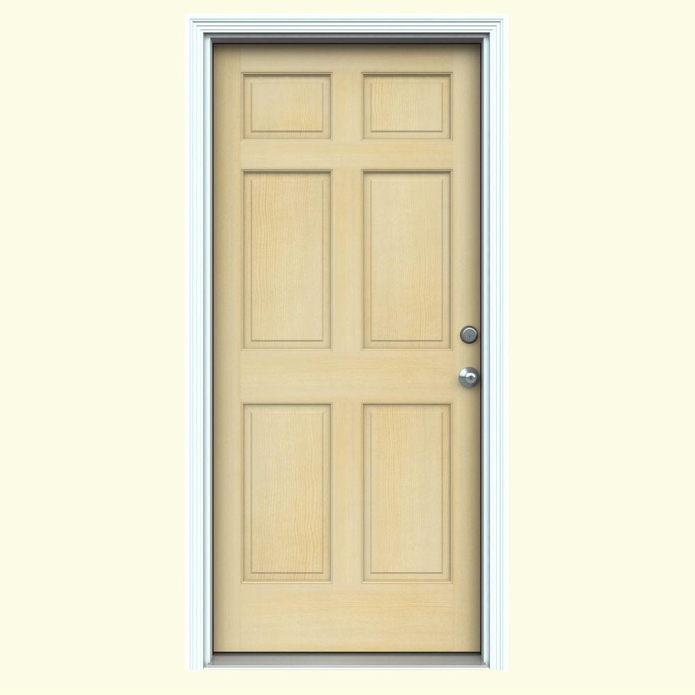 36 in. x 80 in. Authentic Wood 6-Panel Unfinished Hemlock Prehung Front Door w/ Primed White AuraLast Jamb & Brickmould