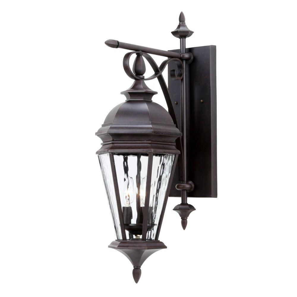 Hampton Bay Cottrell Collection Aged Bronze Outdoor LED Powered Wall Lantern