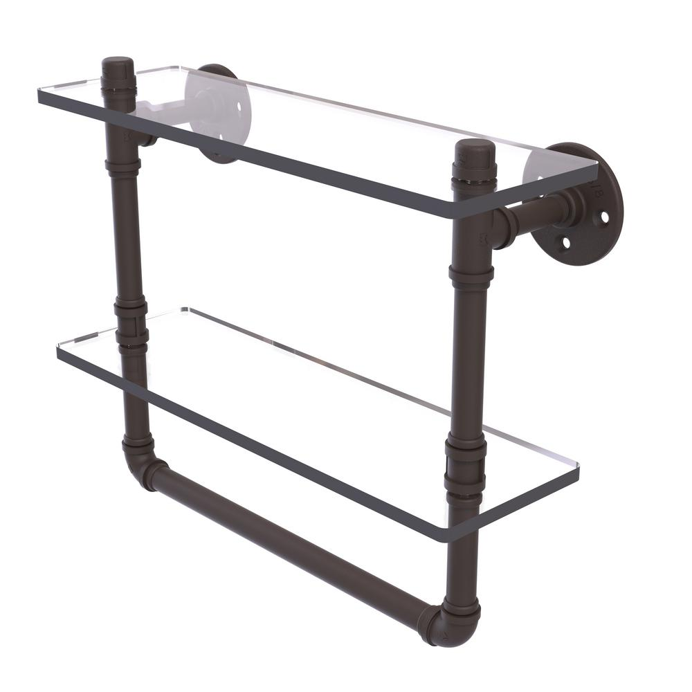 Pipeline Collection 16 in. Doulbe Glass Shelf with Towel Bar in