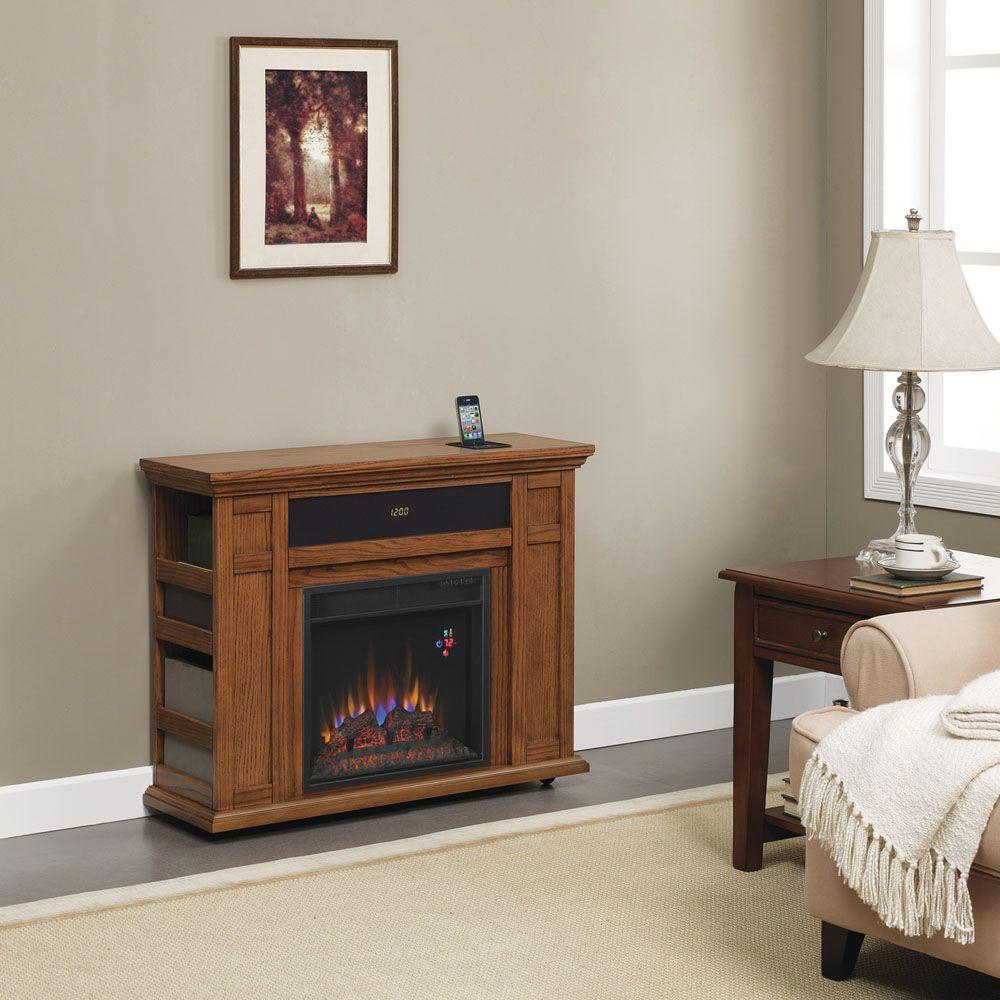 Hampton Bay Templeton 37 in. Rolling Media Console Electric Fireplace in Oak-DISCONTINUED
