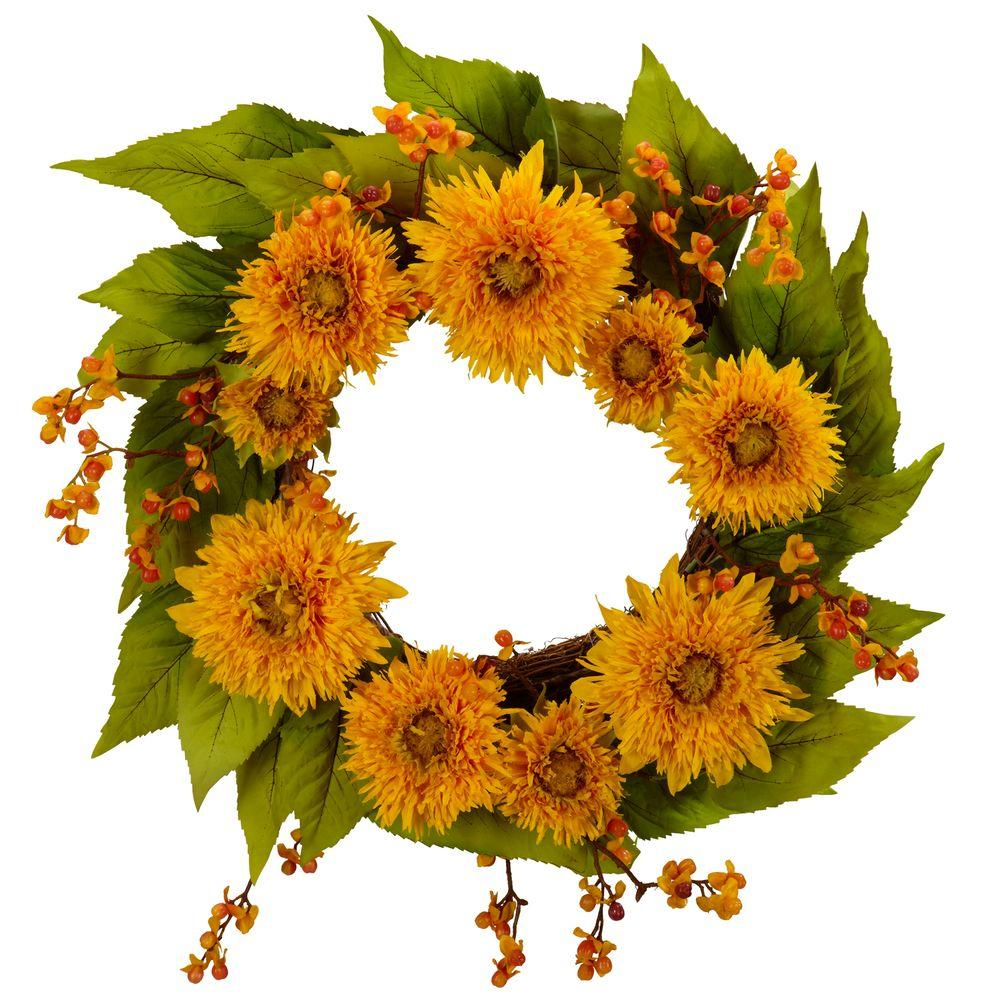 Nearly Natural 22.0 in. H Yellow Golden Sunflower Wreath-4904 - The
