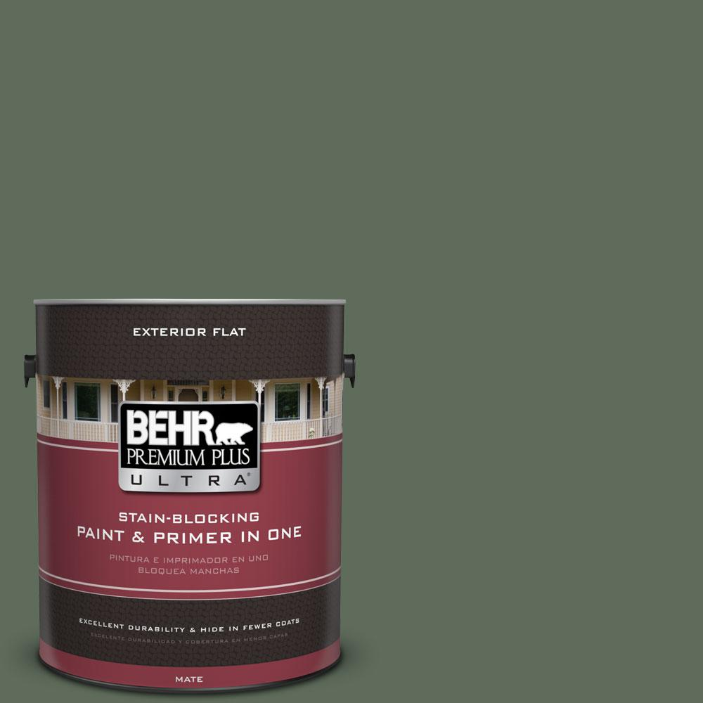 BEHR Premium Plus Ultra 1-gal. #450F-6 Whispering Pine Flat Exterior Paint