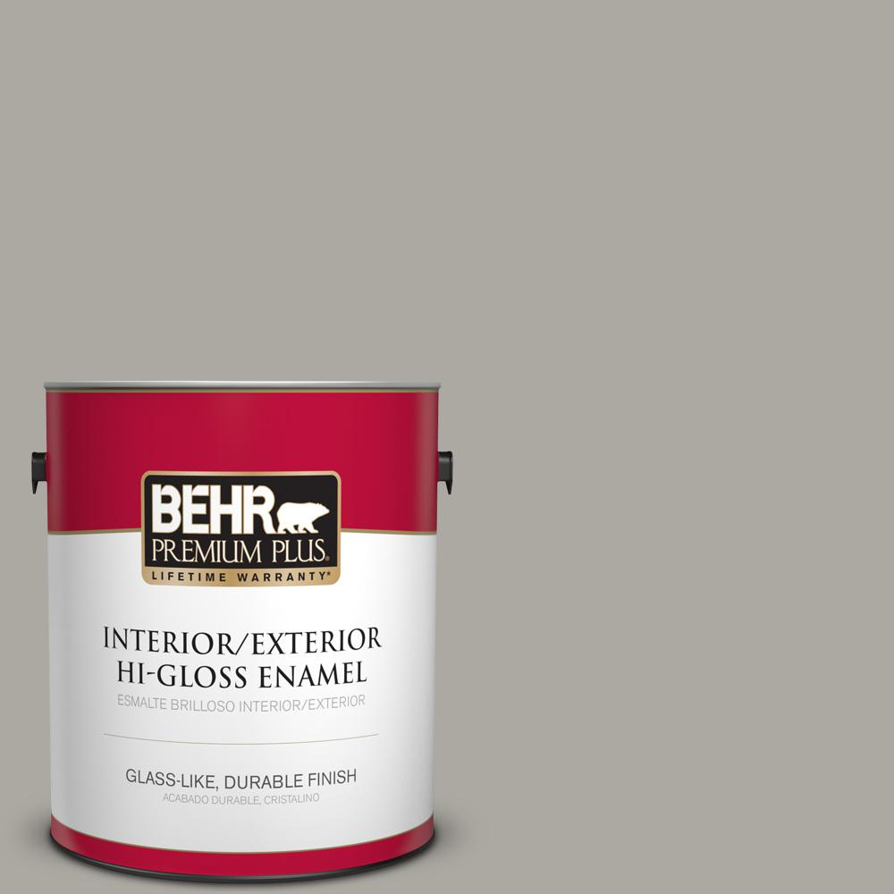 BEHR Premium Plus 1 gal. #PPU24-10 Downtown Gray High-Gloss Enamel