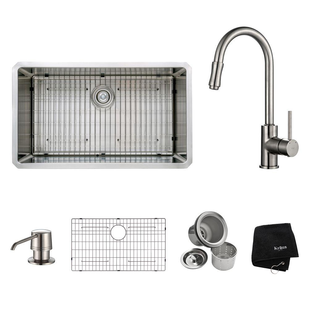 All-in-One Undermount Stainless Steel 32 in. Single Basin Kitchen Sink with