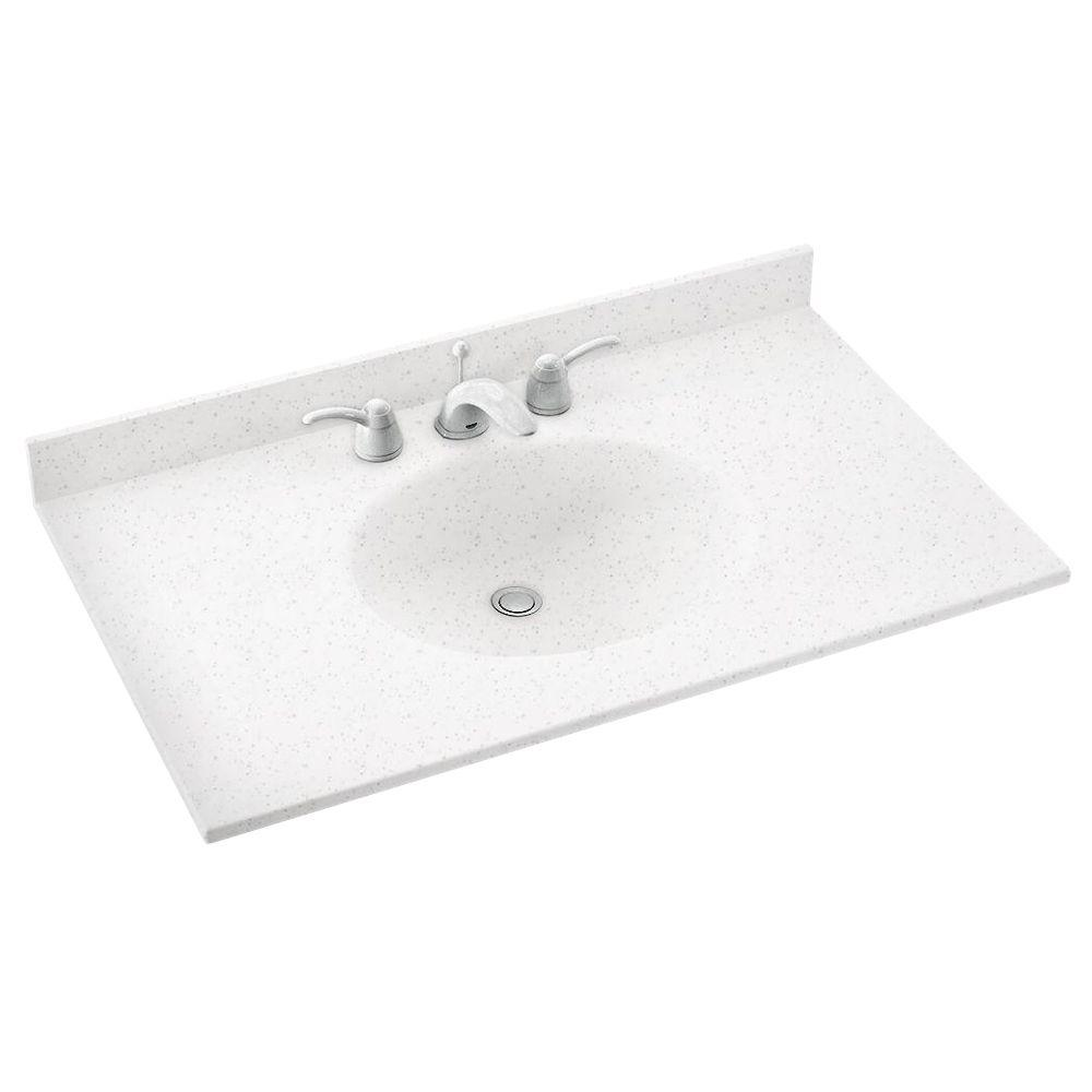 Ellipse 37 in. Solid Surface Vanity Top in Arctic Granite with