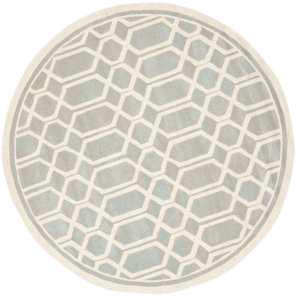 Safavieh Chatham Grey/Ivory 5 ft. x 5 ft. Round Area Rug