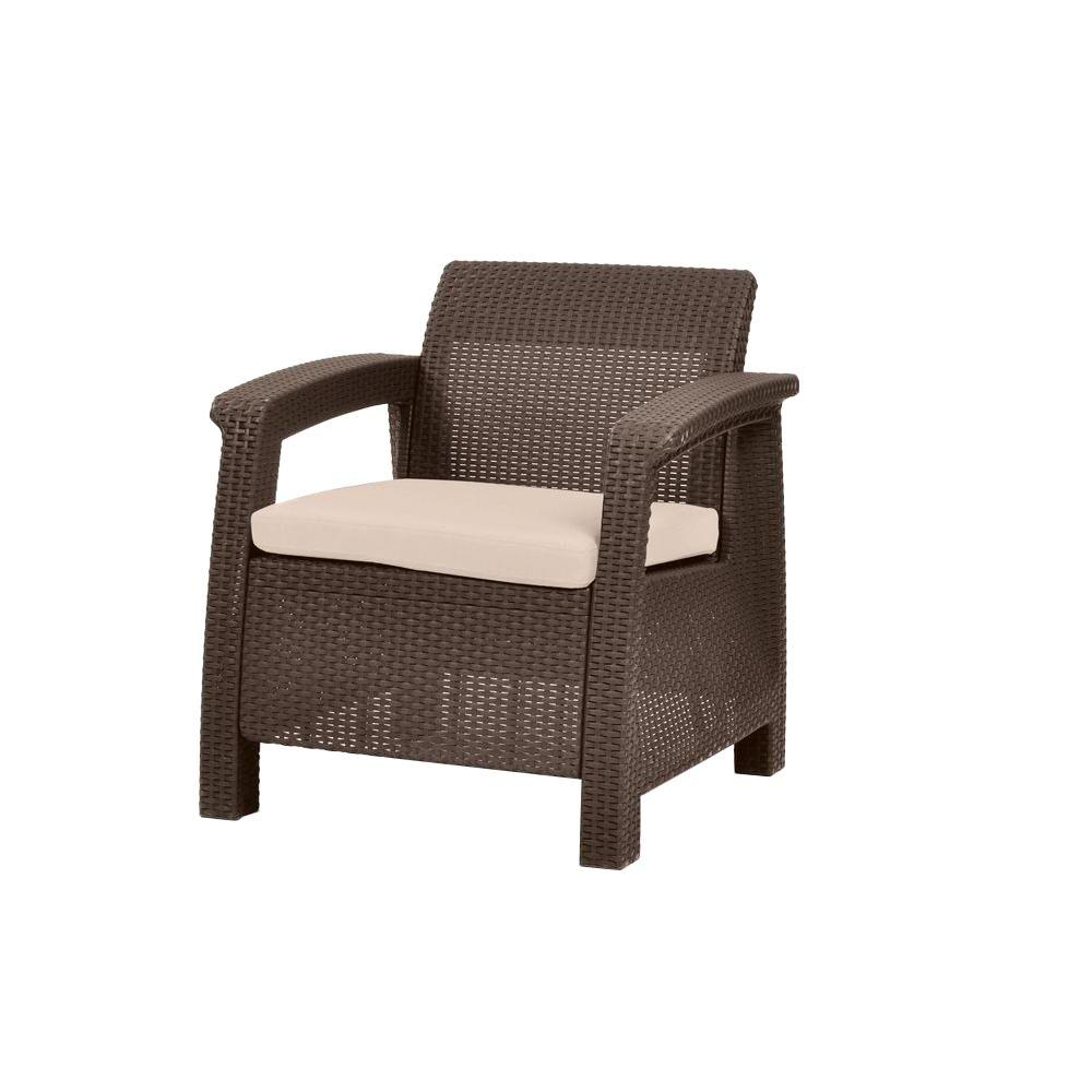 Keter corfu brown all weather patio armchair with tan for All weather garden chairs