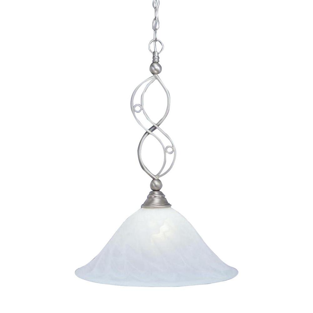 Concord 1-Light Brushed Nickel Pendant with Swirl Glass