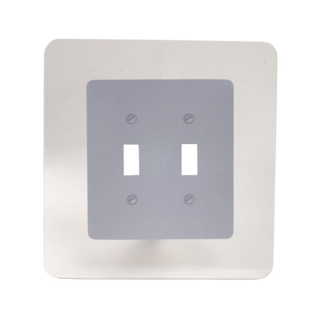Wall Guard 2 Toggle Switch Wall Plate - Clear, Silver