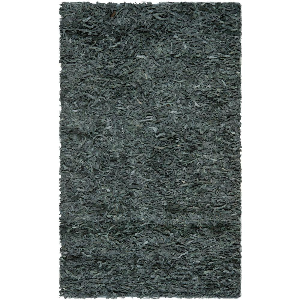 Leather Shag Grey 5 ft. x 8 ft. Area Rug