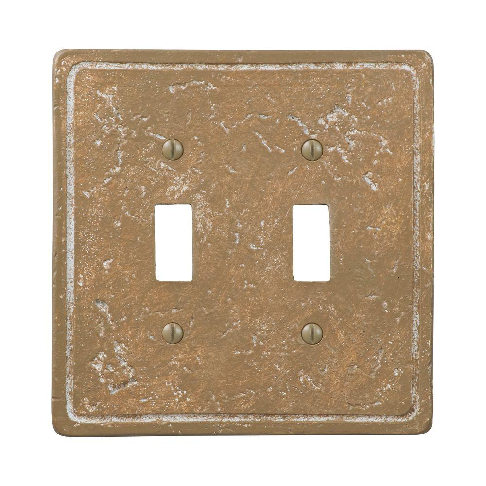 Amerelle Texture Stone 2 Toggle Wall Plate - Noche