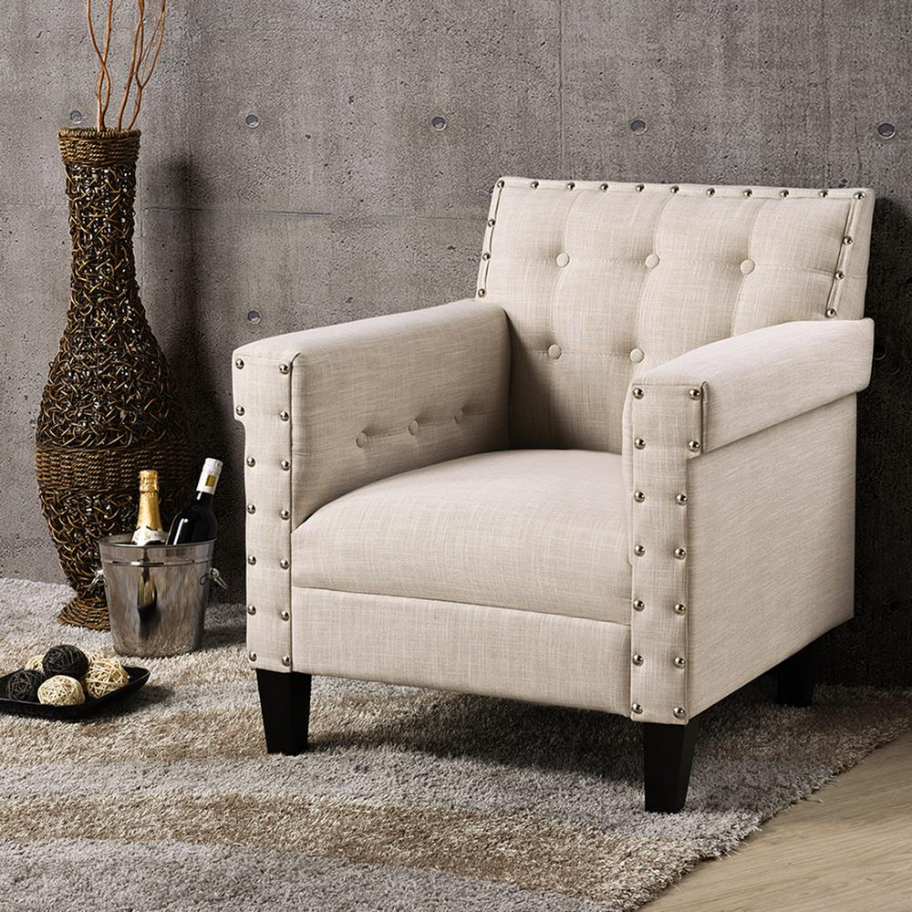 Odella Contemporary Beige Fabric Upholstered Accent Chair