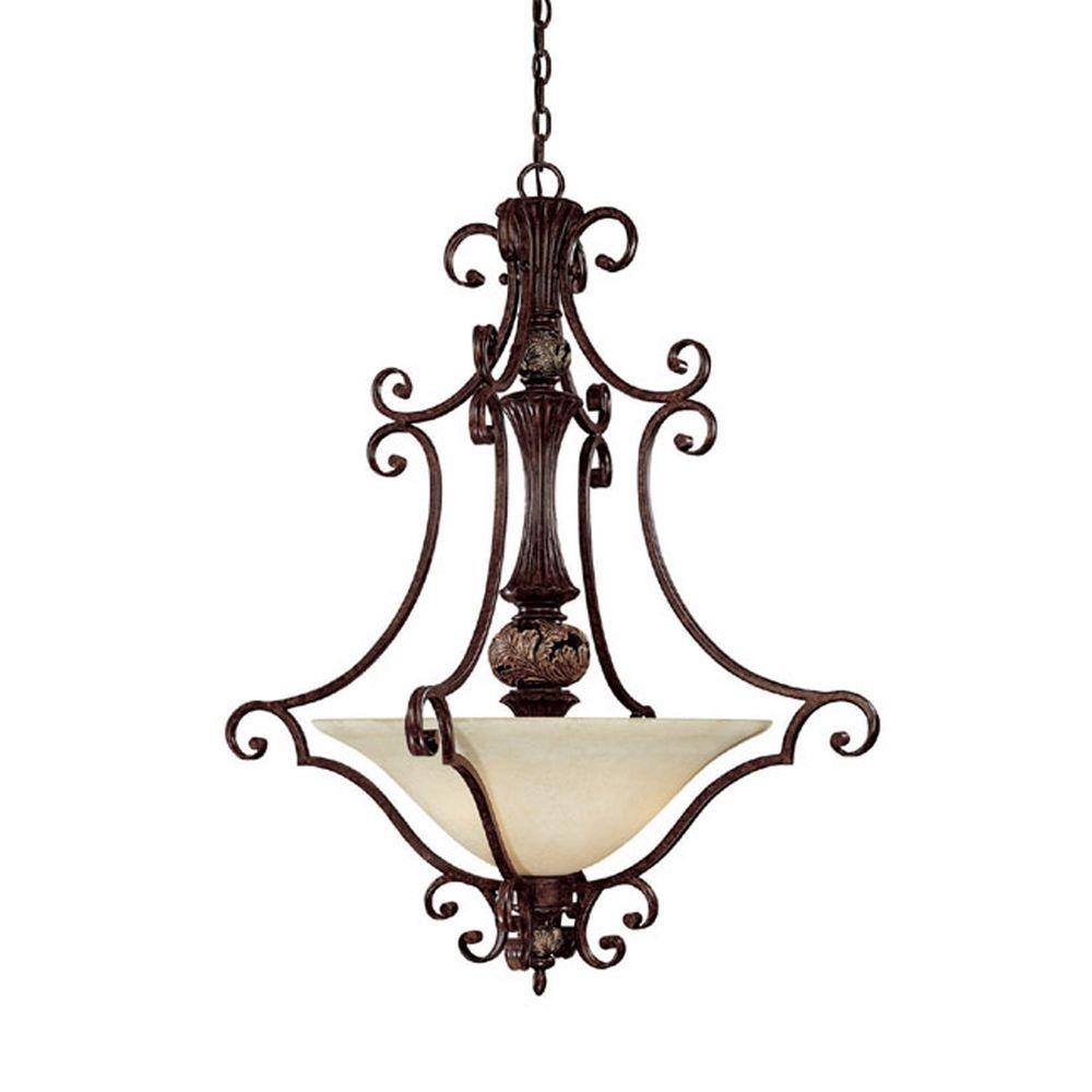 Filament Design Johnson 3-Light Chesterfield Brown Incandescent Pendant-DISCONTINUED