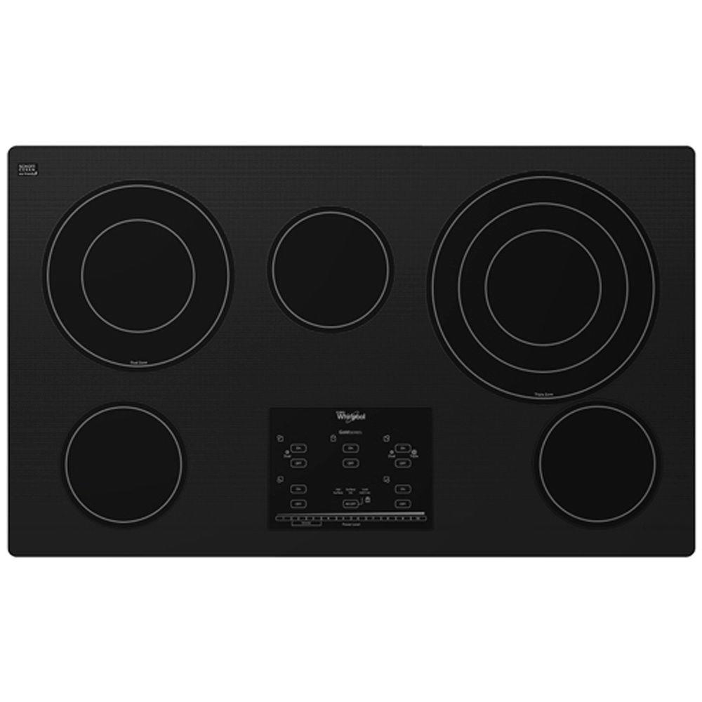 Whirlpool Gold 36 in. Radiant Electric Cooktop in Black with 5 Elements including AccuSimmer Plus Element