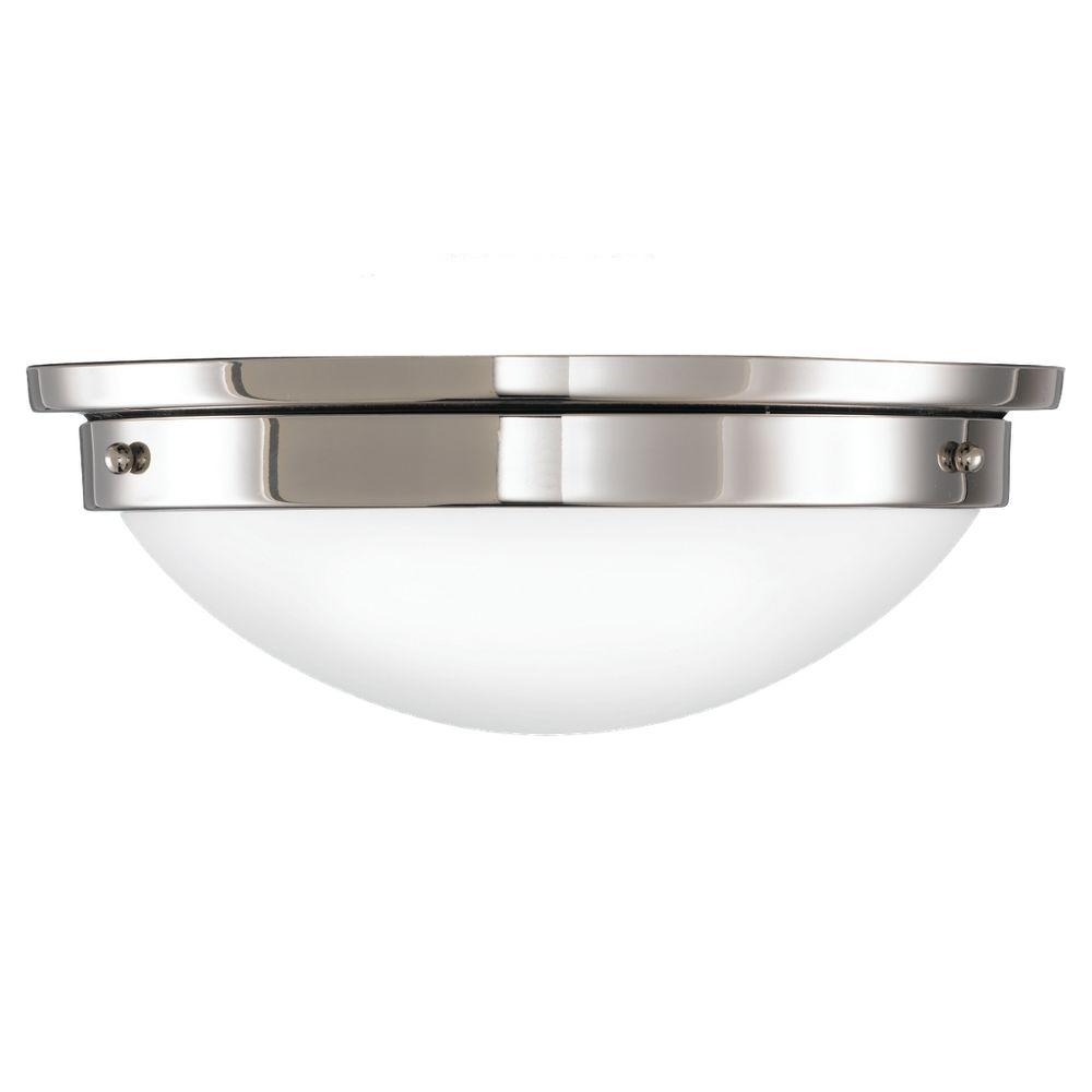 Feiss American Foursquare 2-Light Polished Nickel Flushmount-FM228PN - The Home