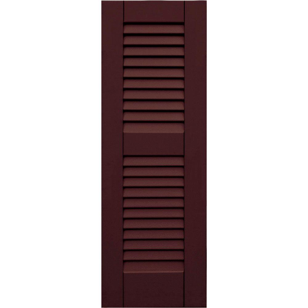 Winworks Wood Composite 12 in. x 35 in. Louvered Shutters Pair #657 Polished Mahogany