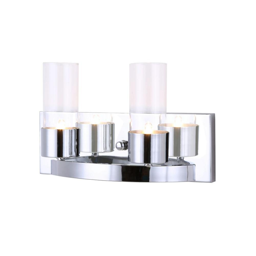 AUDREY 2-Light Chrome Vanity Light with Clear Glass