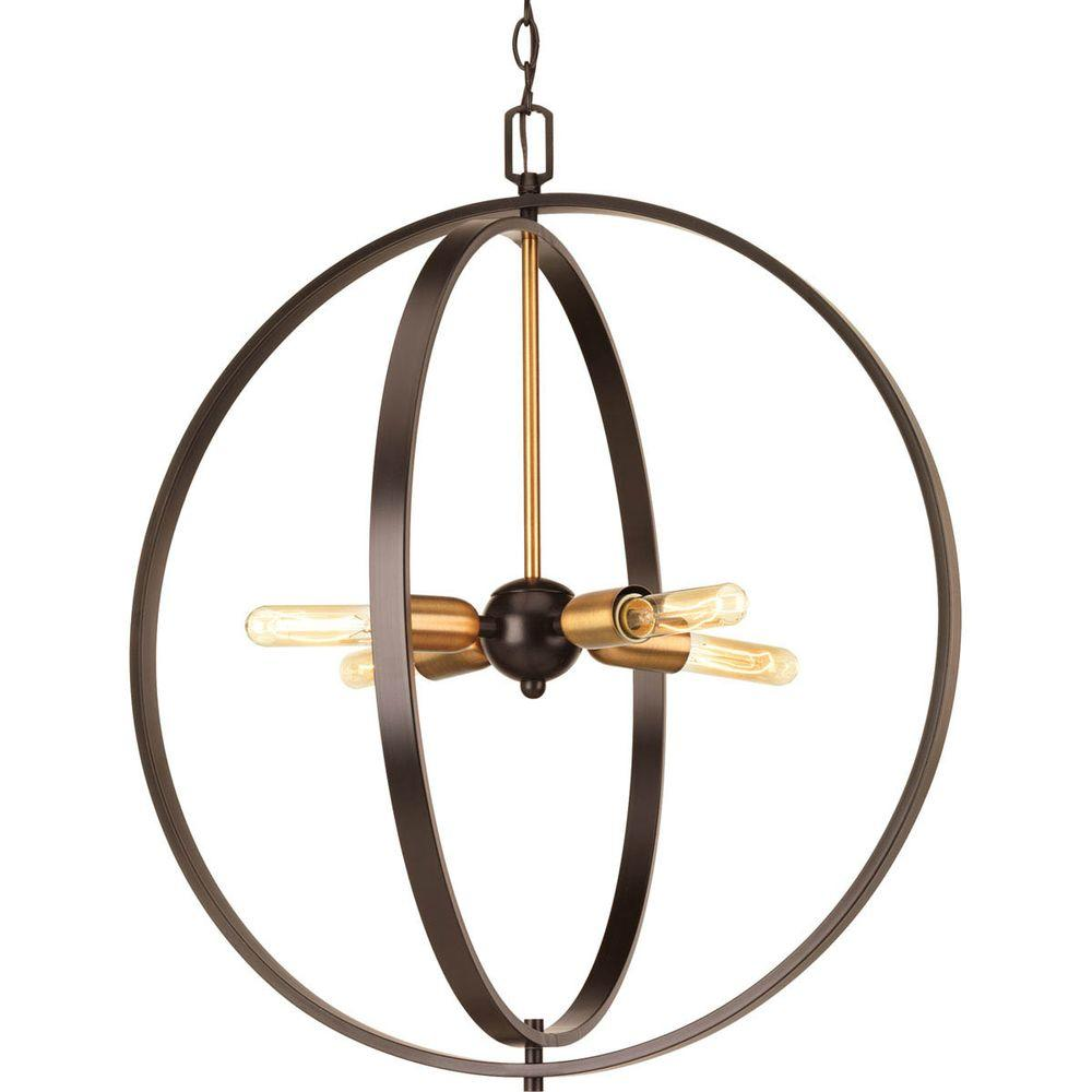 Swing Collection 4-Light Antique Bronze Foyer Pendant