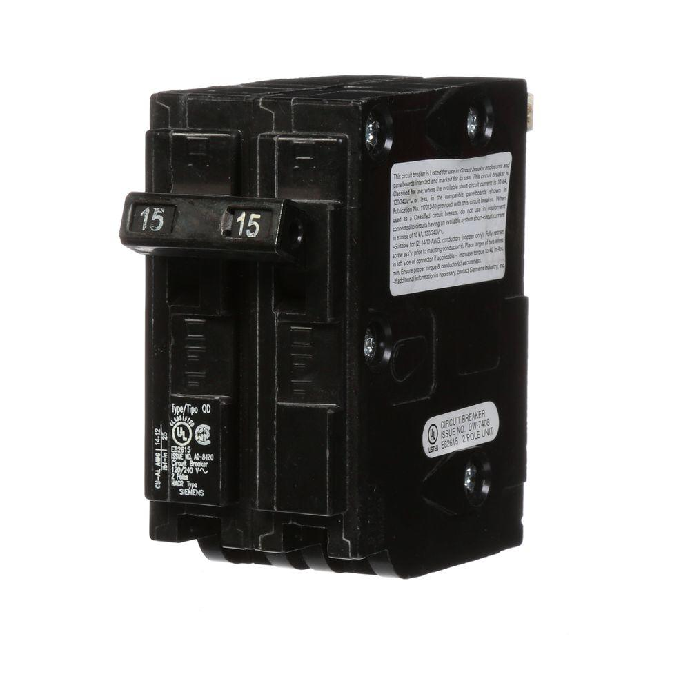 15 Amp Double-Pole Type QD Replacement Circuit Breaker
