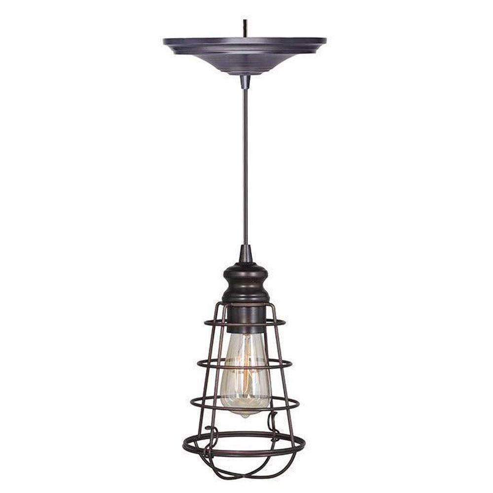 Home Decorators Collection Cage 1-Light Brushed Bronze Pendant with Hardwire
