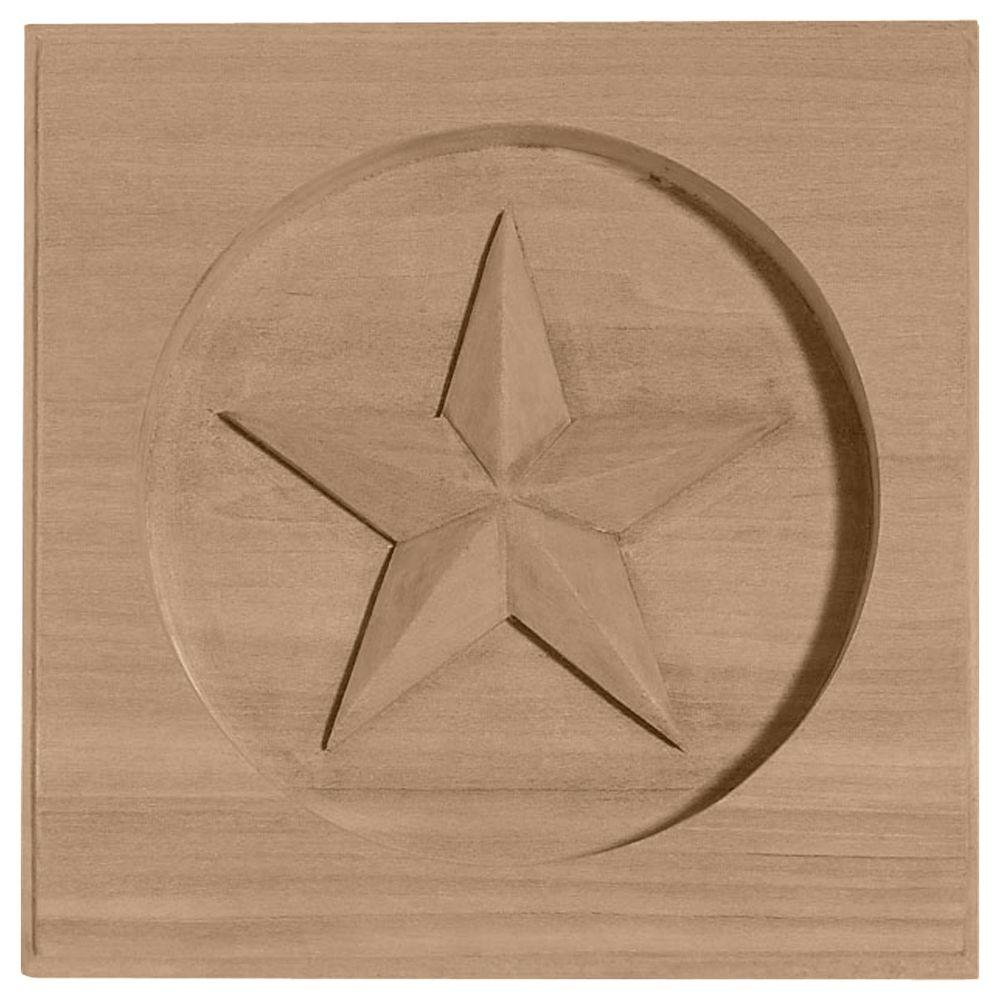 Ekena Millwork 5/8 in. x 3-1/2 in. x 3-1/2 in. Unfinished Wood Maple Austin Star Rosette