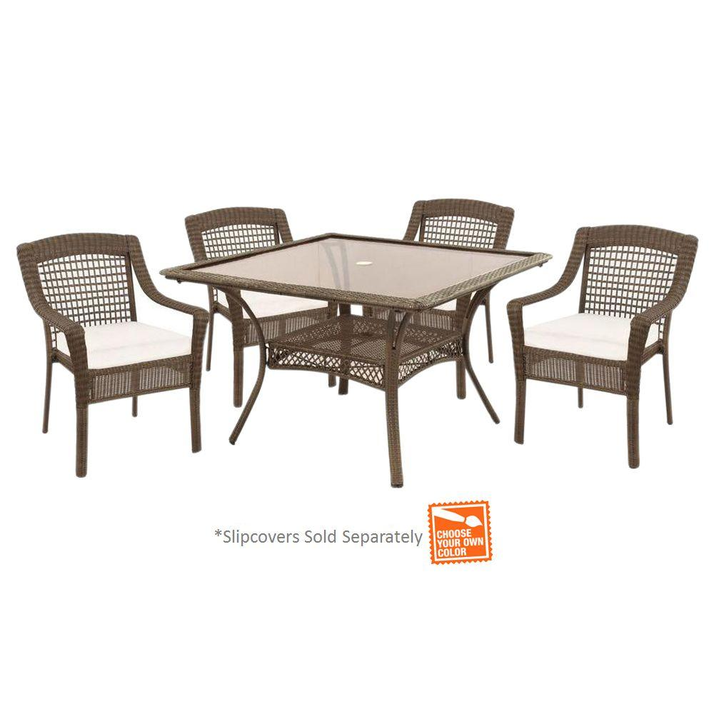 Spring Haven Grey 5-Piece All-Weather Wicker Patio Dinning Set with Cushion