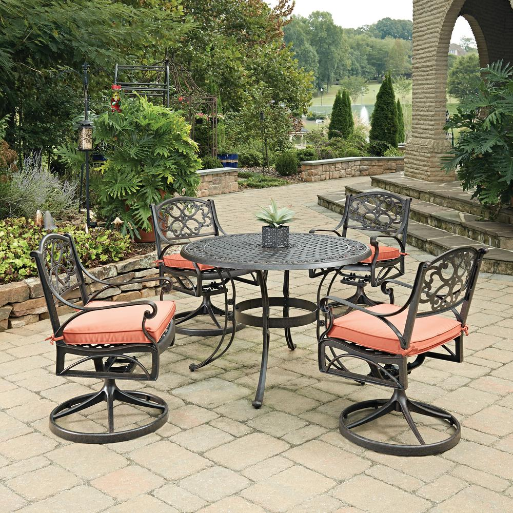 Biscayne Rust Bronze 5-Piece Cast Aluminum Outdoor Dining Set with Coral
