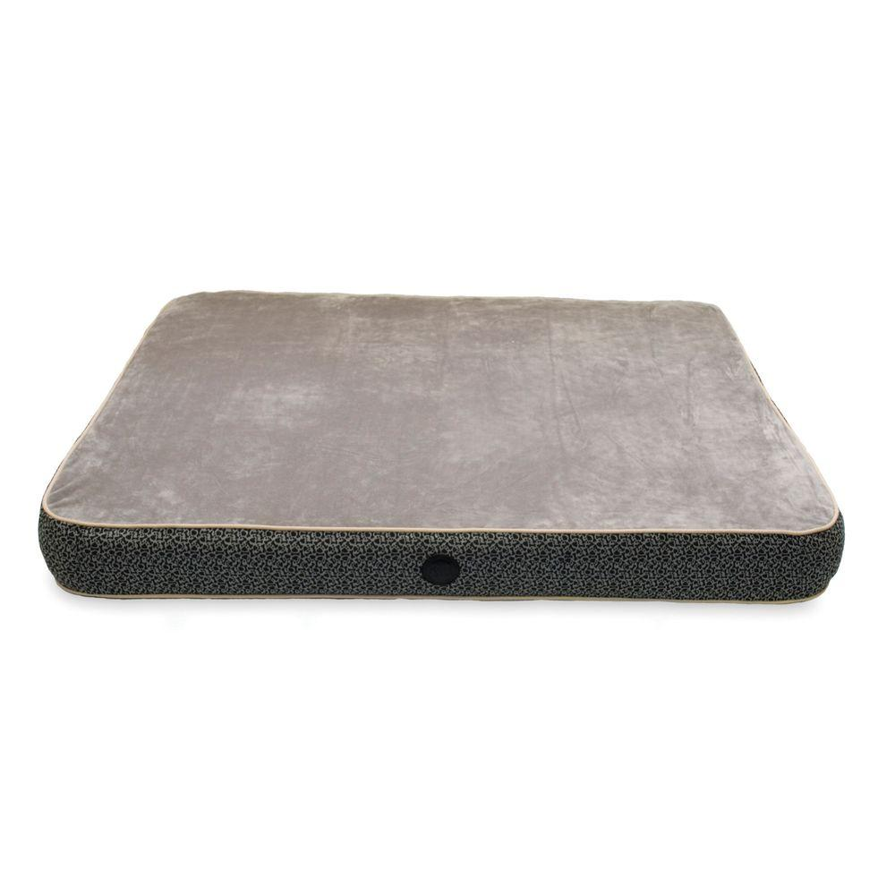 Superior Orthopedic Small Gray Paw Bone Print Dog Bed