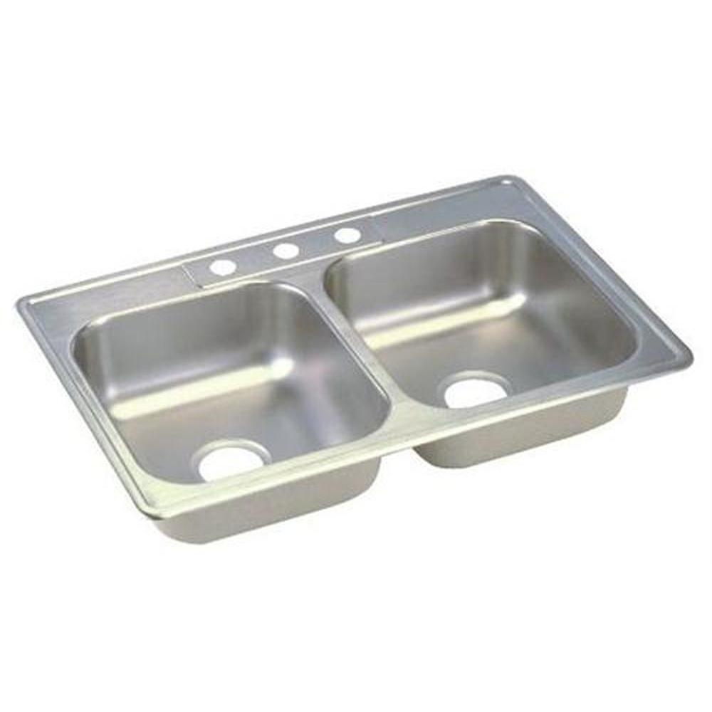 Elkay Dayton Top Mount Stainless Steel 25 in. 3-Hole Double Bowl Kitchen Sink
