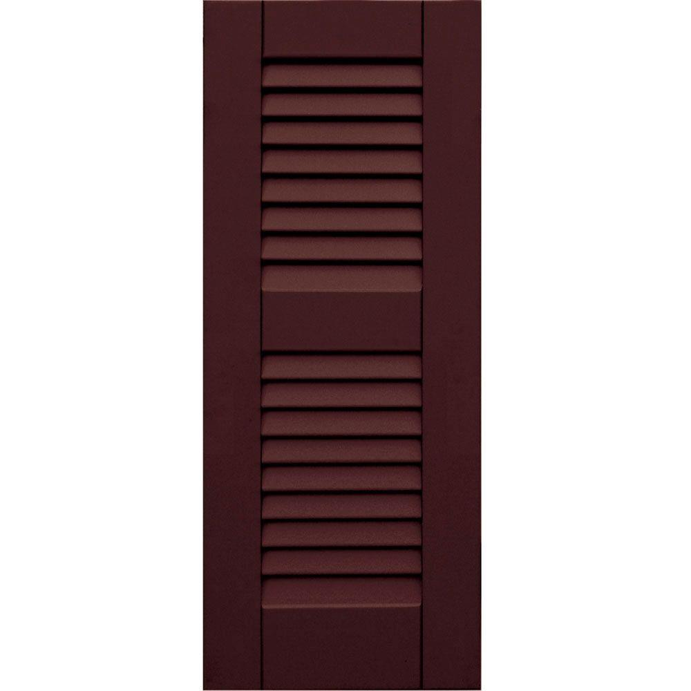 Winworks Wood Composite 12 in. x 30 in. Louvered Shutters Pair #657 Polished Mahogany