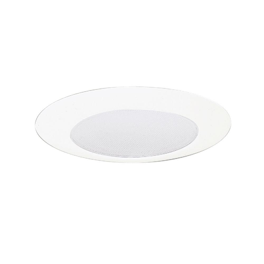 6 in. White Recessed Ceiling Light Trim with Albalite Glass Lens,