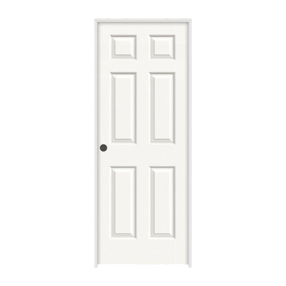24 in. x 80 in. Colonist White Painted Right-Hand Smooth Molded