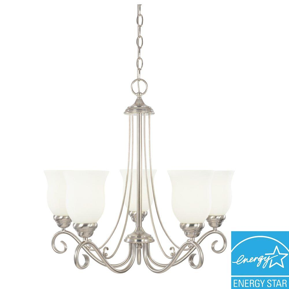 LiteChoice Portland Collection 5-Light Brushed Nickel Hanging Chandelier