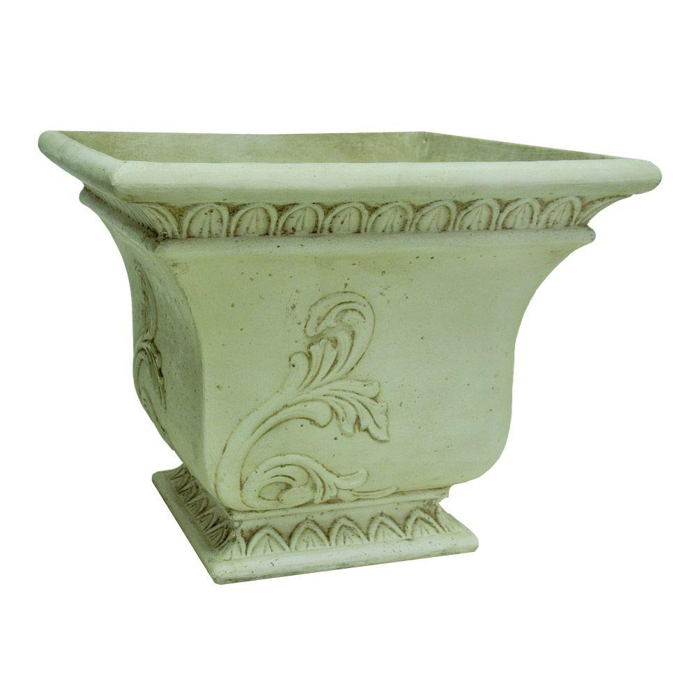 19 in. Square Aged White Tapered Planter
