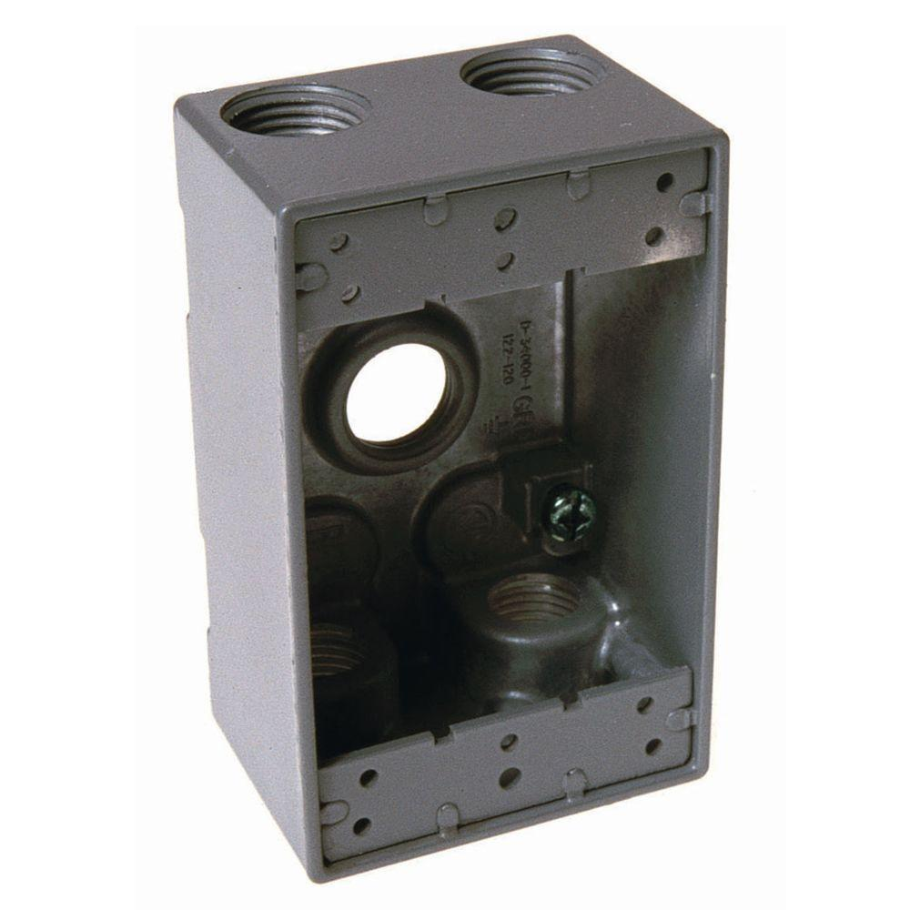 1-Gang 5-Outlets 3/4 in. Threaded Weatherproof Box, Gray
