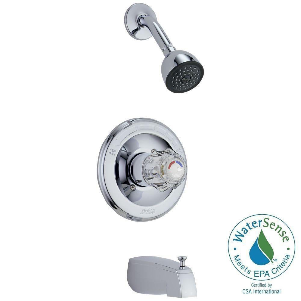 Delta Classic 1-Handle Tub and Shower Faucet Trim Kit in Chrome