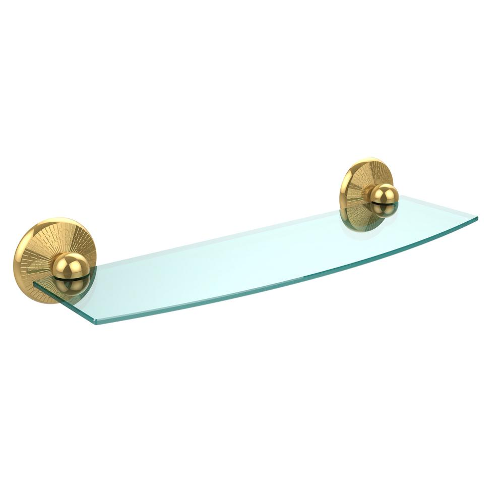 Allied Brass Monte Carlo Collection 18 in. Glass Shelf in Unlacquered Brass