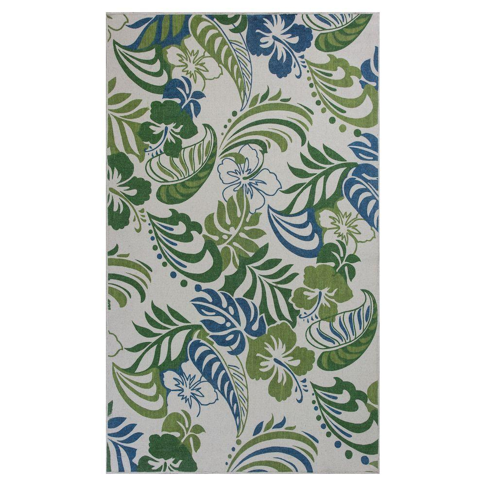 Kas Rugs Duel Leaves Ivory/Green 5 ft. x 8 ft. Area Rug