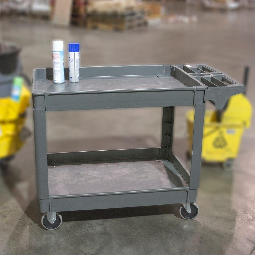 Extra-Large 2-Shelf Heavy Duty 4-Wheeled Utility Service Cart in Gray with 550 lb. Capacity