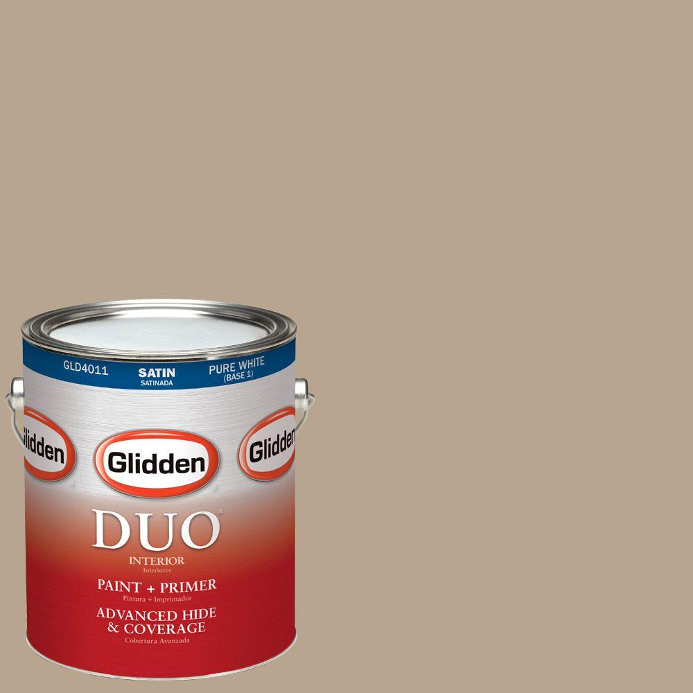 Glidden DUO 1-gal. #HDGWN08U Palm Springs Tan Satin Latex Interior Paint with Primer