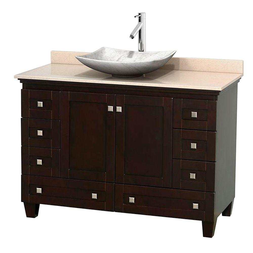 Wyndham Collection Acclaim 48 in. W Vanity in Espresso with Marble Vanity Top in Ivory and White Carrara Marble Sink