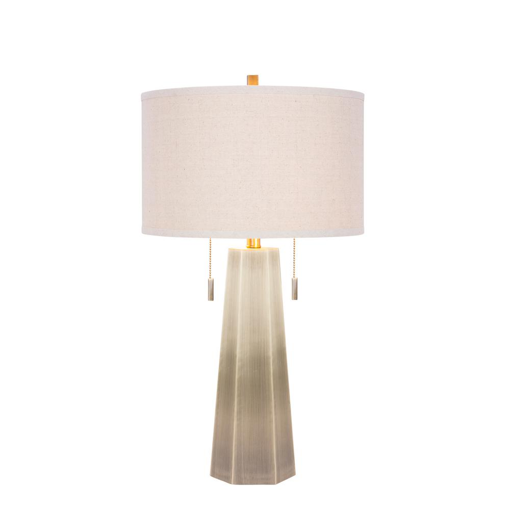 Fangio Lighting 30 in. Metal Table Lamp In Antique Brass-W-m.r.1521AB -